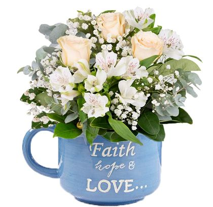 Faith Hope And Love Flower Mug A3952 Flower Delivery